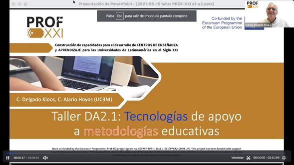 Taller «Tecnologías de apoyo a metodologías educativas»